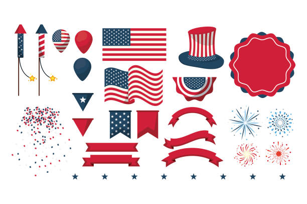 Independence day collection Set of independence day elements vector illustration graphic design surface to air missile stock illustrations
