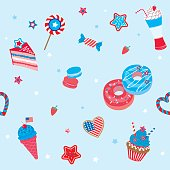 Happy Independence day United states of America for 4th July, Memorial day with various sweet dessert and drink party decorated design for seamless pattern.