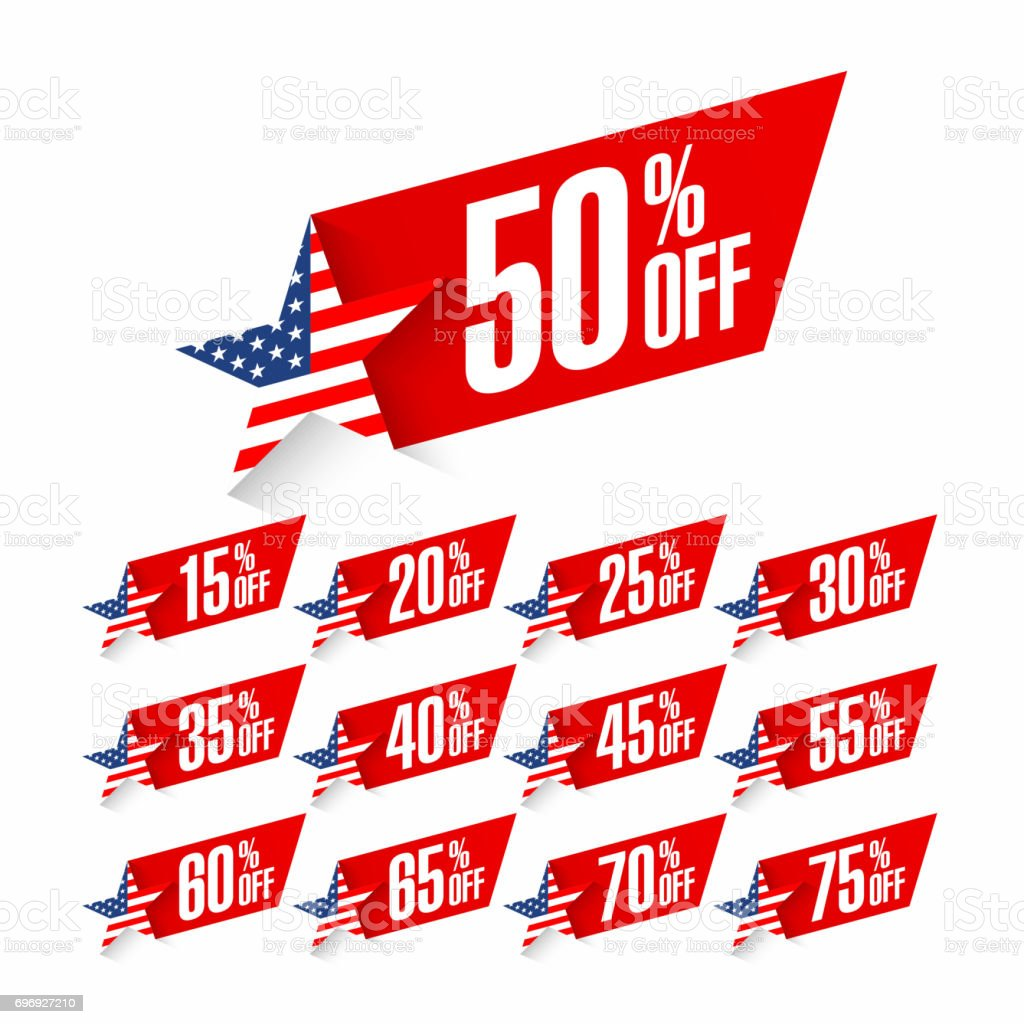 USA Independence Day discount labels vector art illustration