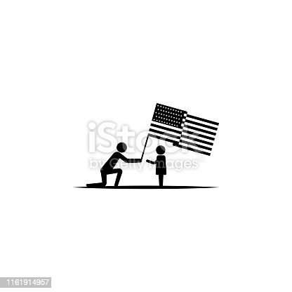 Independence day, flag, child icon - Vector on white background
