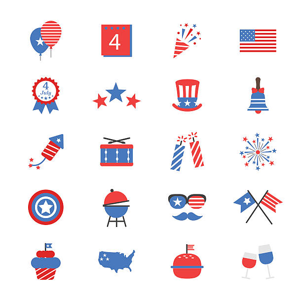 Independence Day Flat Color Icons This is icons set vector Illustrations line style. surface to air missile stock illustrations