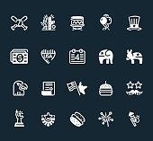 Flat Icons with 4th of July Independence Day symbols. Baseball, money, Eagle, Donkey and Elephant Illustrations