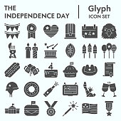 Independence Day glyph icon set, 4th july symbols collection, vector sketches, logo illustrations, american holiday decor signs solid pictograms package isolated on white background, eps 10