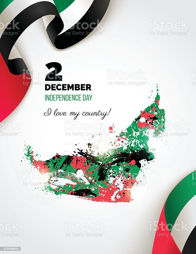 UAE Independence Day greeting card. 2 December. - 免版稅創作性圖庫向量圖形