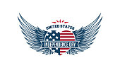 United Stated independence day greeting typographic heart with wings label design. Vector illustration for badges, tags, greeting cards, banners, background. Fourth of July in USA emblem.