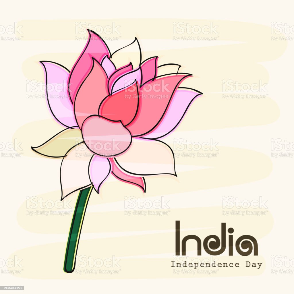 Independence day greeting card design with national flower lotus independence day greeting card design with national flower lotus royalty free independence day greeting izmirmasajfo