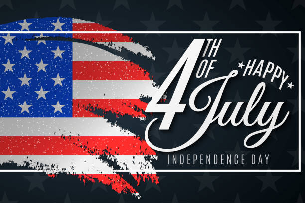 independence day. greeting card for 4th of july. grunge brush. text banner on usa flag background. pattern of stars. united states of america. vector illustration eps 10 - happy 4th of july stock illustrations