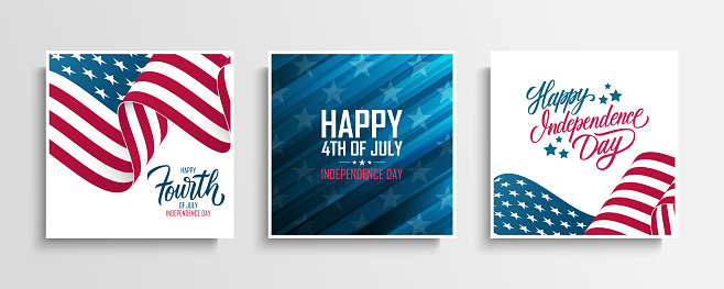USA Independence Day greeting cards set with waving american national flag. Fourth of July. United States national holiday collection.