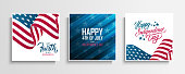 USA Independence Day greeting cards set with waving american national flag. Fourth of July. United States national holiday vector illustration.