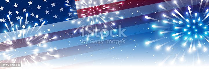istock Independence day horizontal panoramic banner with American flag and fireworks on night starry sky background 1227155994