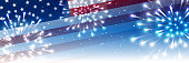 Independence day horizontal panoramic banner with American flag and fireworks on night starry sky background
