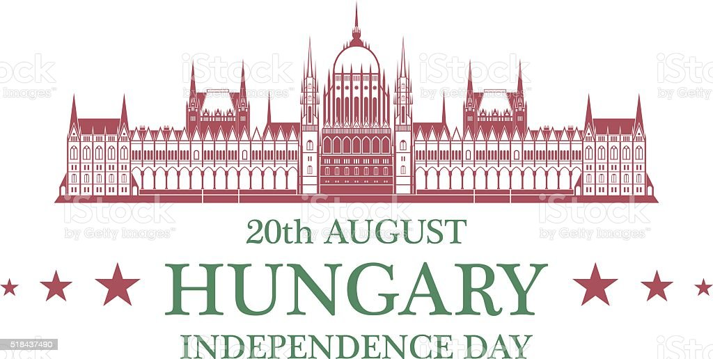 Independence Day. Hungary vector art illustration