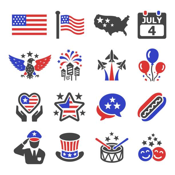 independence day icon independence day icon set saluting stock illustrations