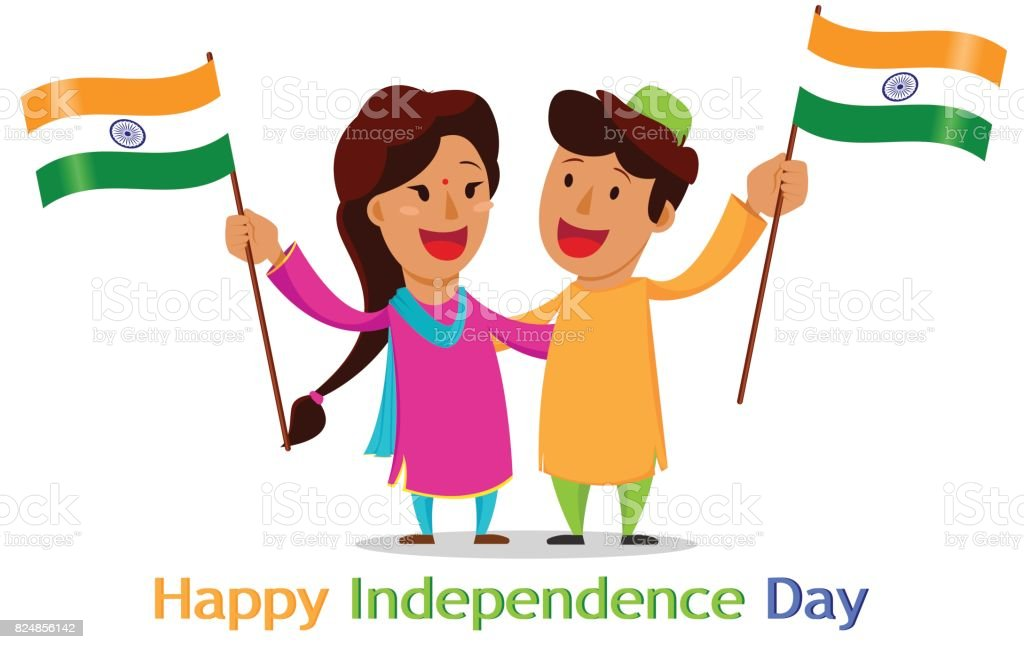 Independence Day In India Greeting Card With Funny Cartoon Characters Stock Illustration Download Image Now Istock