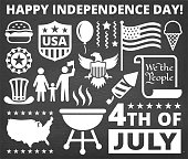 Independence Day July 4th Icons on Chalk Board Background. These July 4th icons are arranged on a chalk board background. The vector icons vary in size and create a nice composition. Each icon can be used independently or use them as a set.