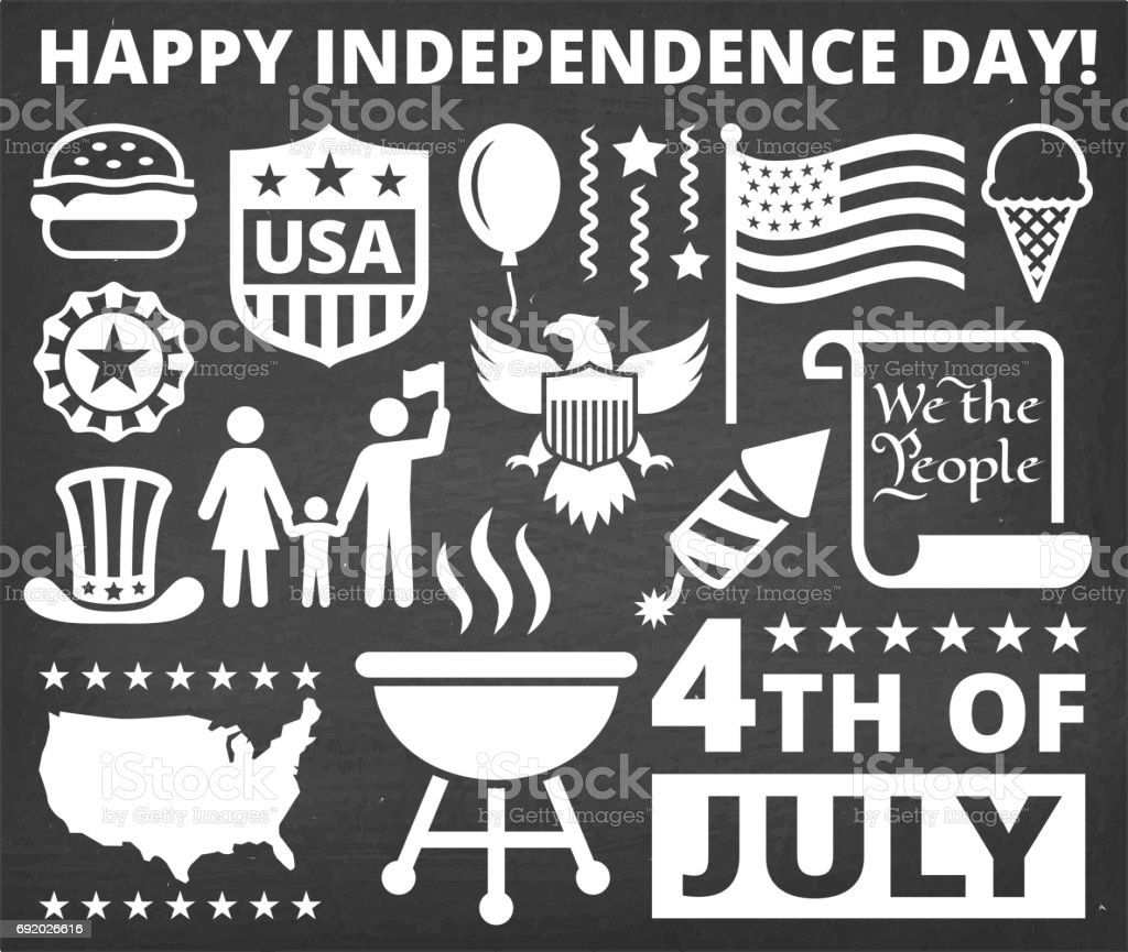 Independence Day July 4th Icons on Chalk Board Background vector art illustration