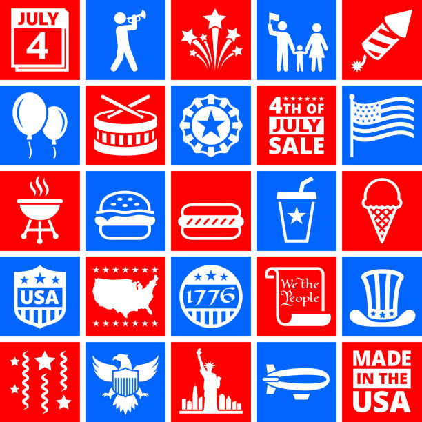 Independence Day July 4th Icons on Red and Blue Buttons Independence Day July 4th Icons on red and blue buttons. These July 4th icons are arranged on square buttons. The vector icons vary in size and create a nice composition. Each icon can be used independently or use them as a set. declaration of independence stock illustrations