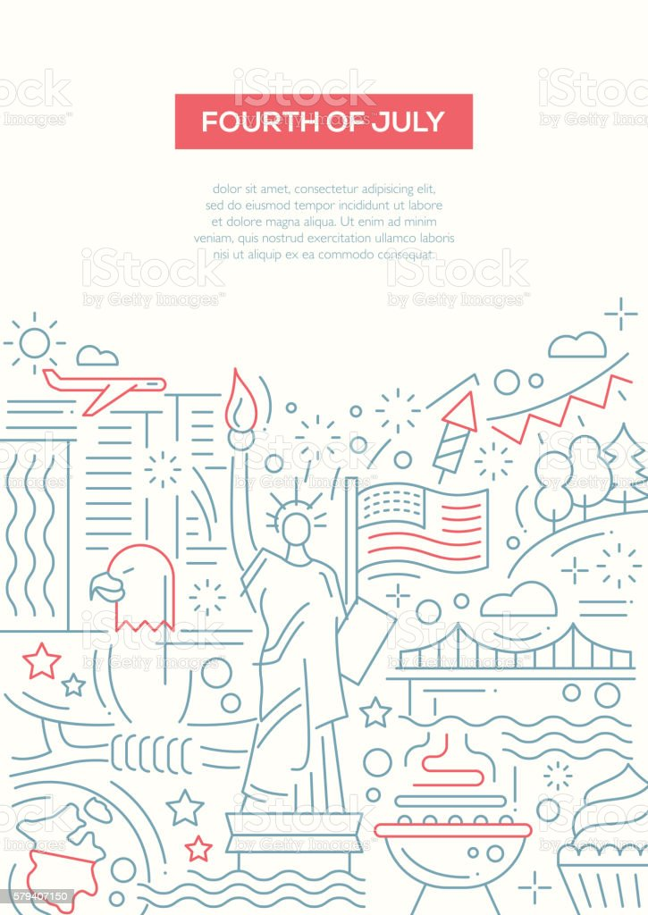 Independence Day - line design brochure poster template A4 vector art illustration