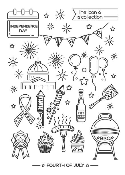us independence day line icon set - white house stock illustrations