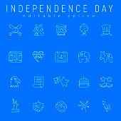 Line Icons with 4th of July Independence Day symbols. Baseball, money, Eagle, Donkey and Elephant Illustrations