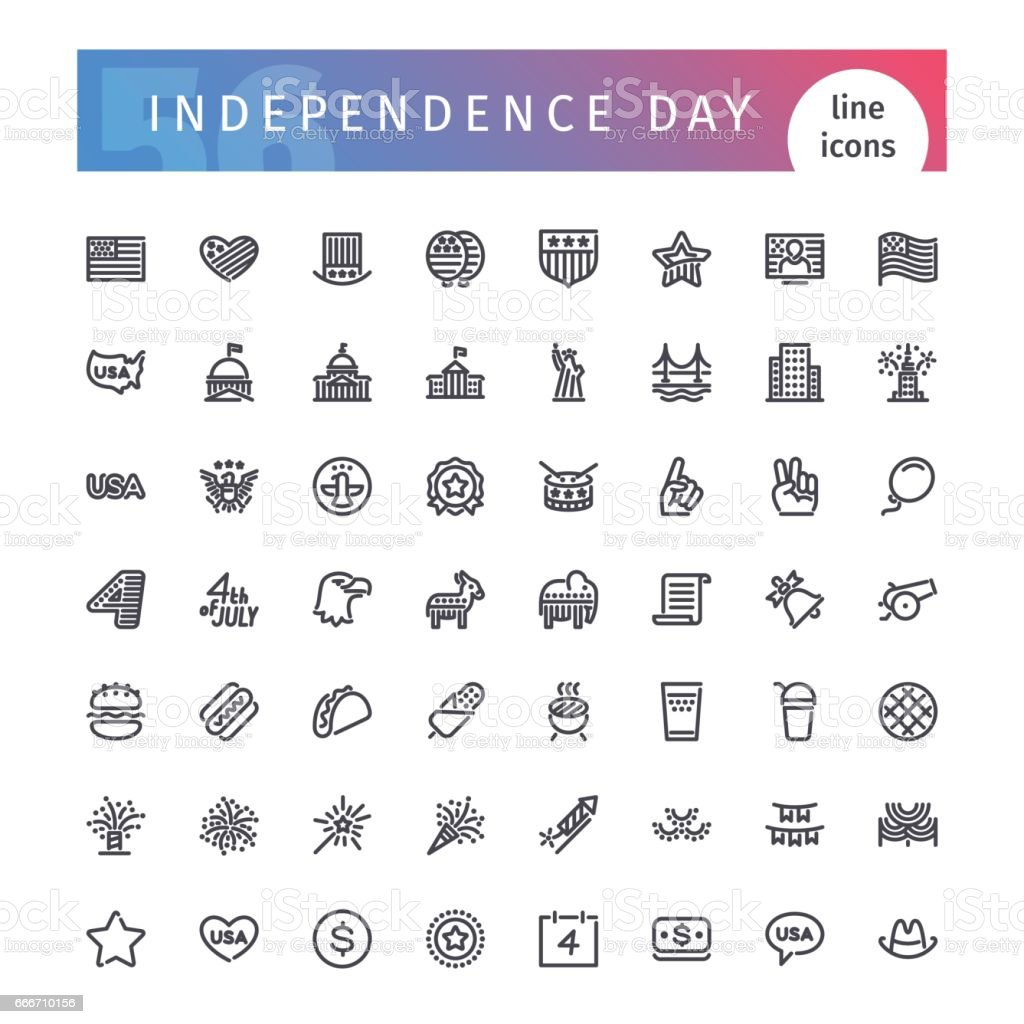 USA Independence Day Line Icons Set vector art illustration