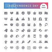 USA Independence Day Line Icons Set