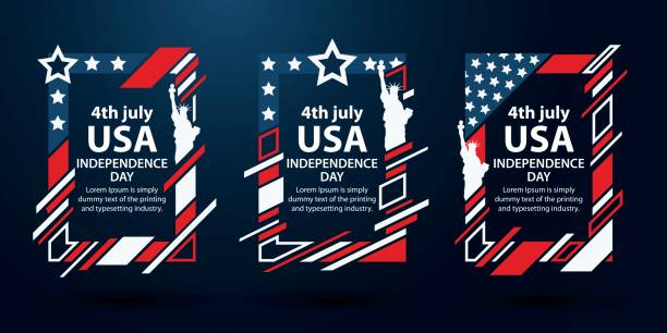USA independence day. Modern art graphics. Dynamic vertical frames, stylish background. 4th of July set of frames for text. vector art illustration