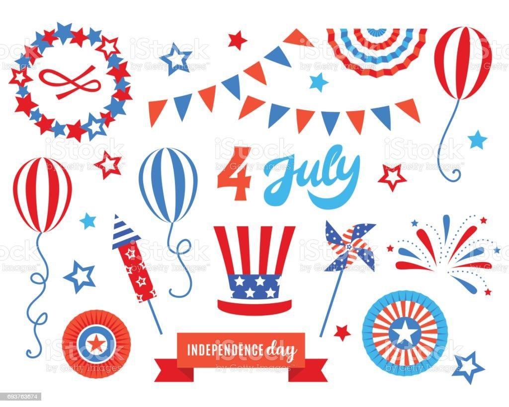 Fête de l'indépendance de l'Amérique fête doodles ensemble - Illustration vectorielle