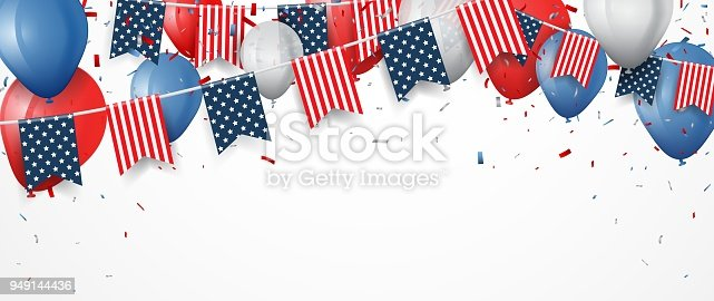 istock Independence day of america with confetti and ribbon 949144436