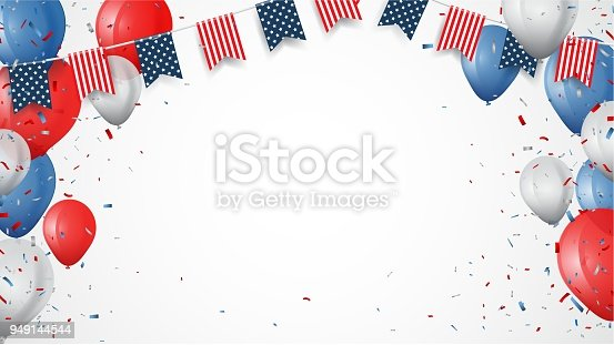 istock Independence day of america with confetti and ribbon 949144544