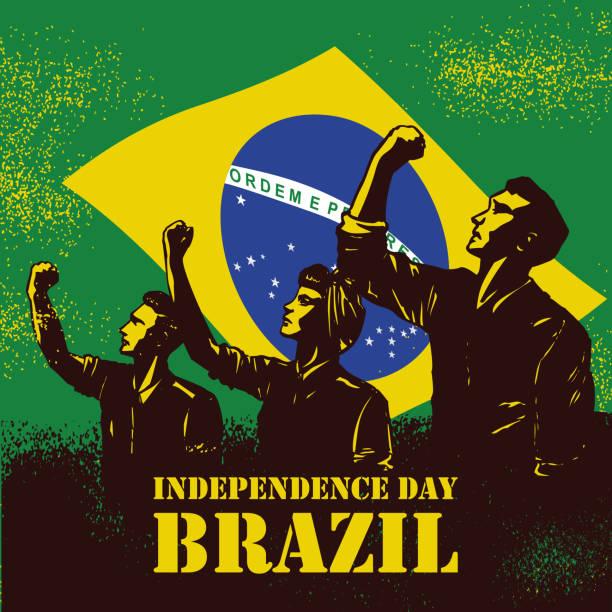 巴西的獨立日橫幅, 說明人們舉起拳頭在巴西國旗作為背景。 - 獨立 幅插畫檔、美工圖案、卡通及圖標