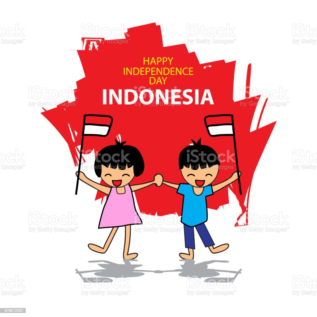 Independence day of Indonesia. Hand drawing boy and girl holding flag vector art illustration