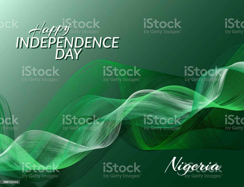 Independence Day of Nigeria against the background of the national flag of Nigeria Abstract green background Vector vector art illustration