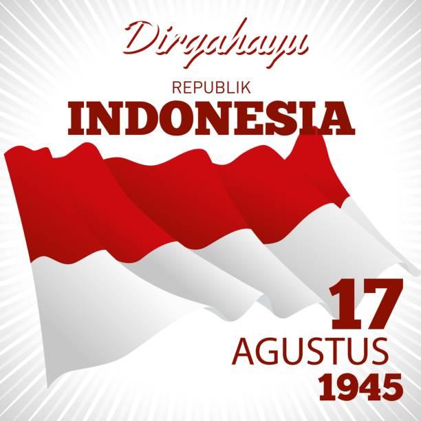 stockillustraties, clipart, cartoons en iconen met de dag van de onafhankelijkheid van de republiek indonesië. - indonesische vlag