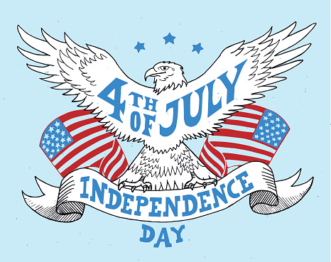 Independence day of the United States. Hand-drawn greeting card.