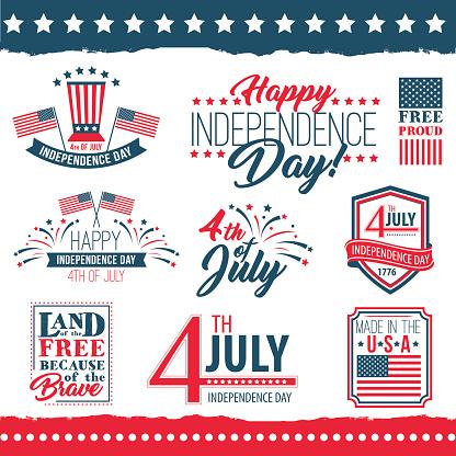 獨立日的美國海報集向量圖形及更多七月圖片