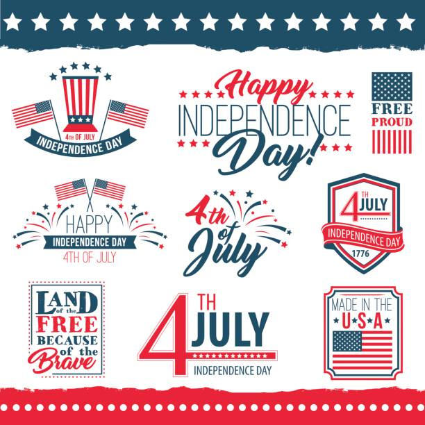 Independence Day of the United States poster set Independence Day of the United States poster set, Fourth of July federal holiday, typical festivity cards with star border. Vector flat style illustration on white background declaration of independence stock illustrations
