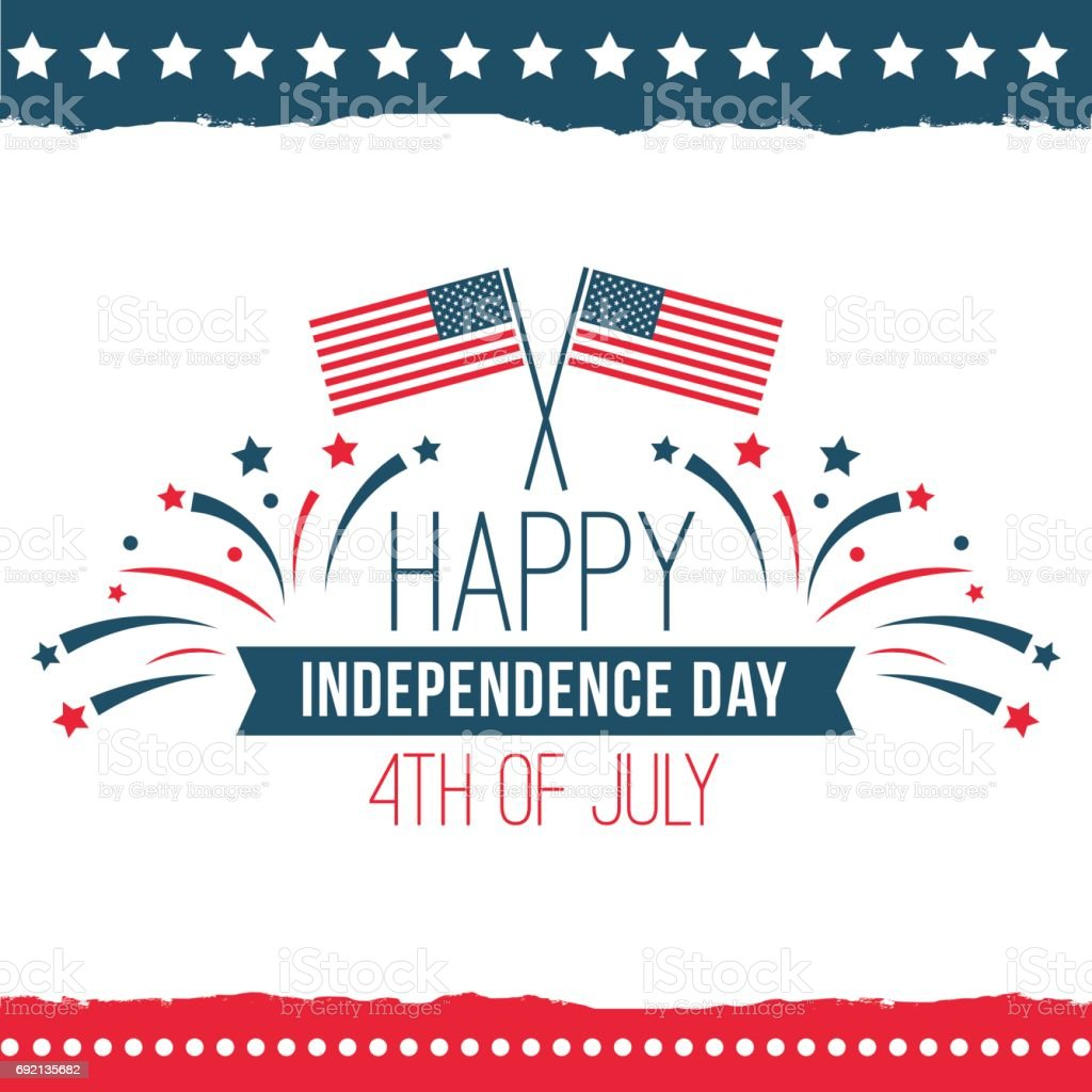 Independence Day of the United States poster set Independence Day of the United States poster set, Fourth of July federal holiday, typical festivity card with star border. Vector flat style illustration on white background American Flag stock vector