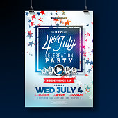 Independence Day of the USA Party Flyer Illustration with Falling Colorful Star. Vector Fourth of July Design on Blue Background for Celebration Banner, Greeting Card, Invitation or Holiday Poster