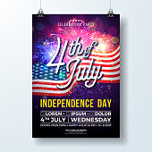 Independence Day of the USA Party Flyer Illustration with Flag and Fireworks. Vector Fourth of July Design on Dark Background for Celebration Banner, Greeting Card, Invitation or Holiday Poster