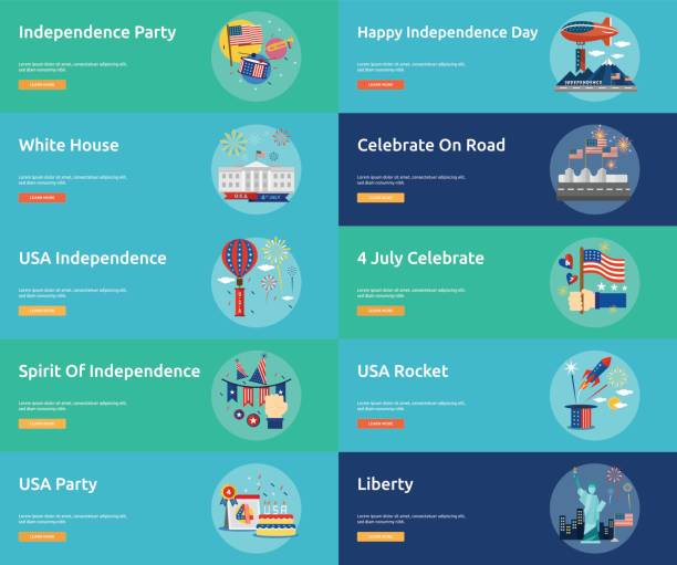 independence day of usa conceptual banner design - white house stock illustrations