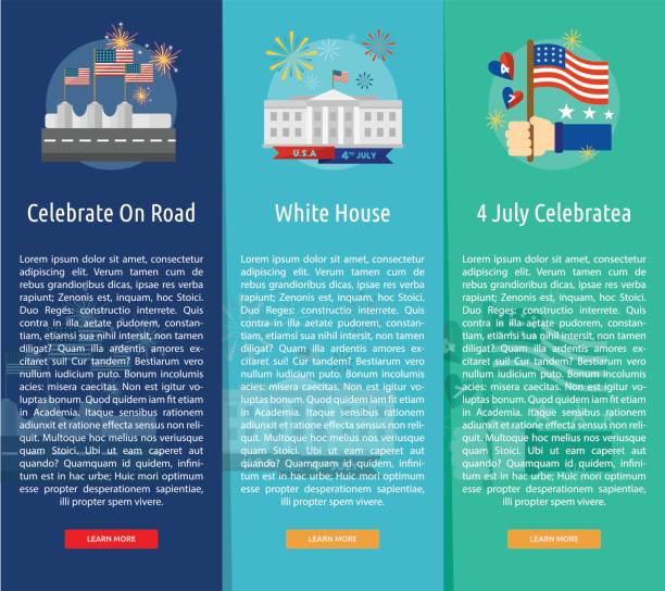 independence day of usa vertical banner concept - white house stock illustrations