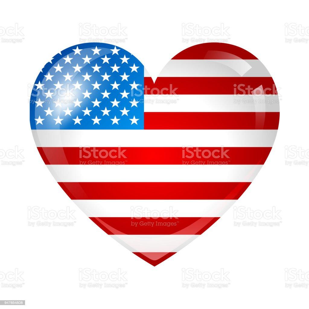 独立記念日の愛国的なイラストアメリカの国旗のハートの形の星条旗 4