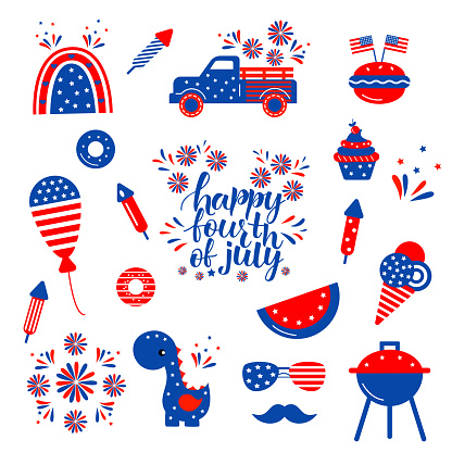 Independence day patriotic illustrations set. Cute vector prints for 4th of July. Independence day design elements in the colors of the US national flag.