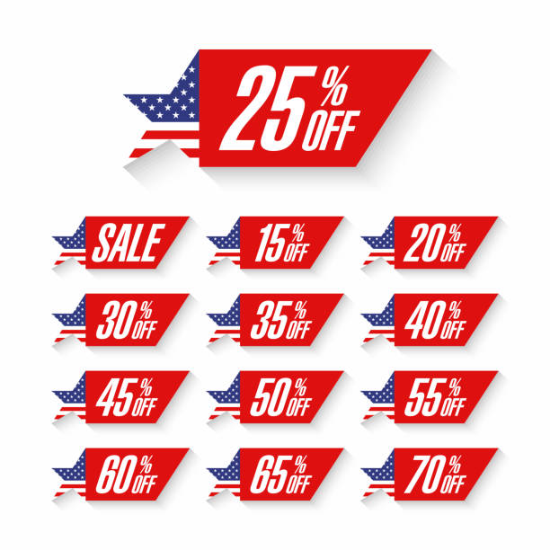 USA Independence Day Sale discount labels vector art illustration