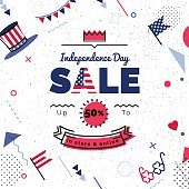 USA Independence day Sale vector illustration.