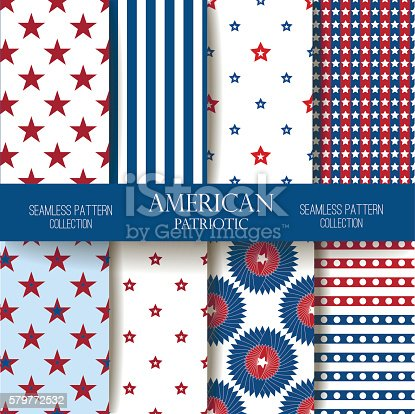 Set of American backgrounds. Collection of seamless patterns in traditional red, blue and white colors. Happy Independence Day seamless pattern vector set. Memorial day. 4th of July. USA flag vector.