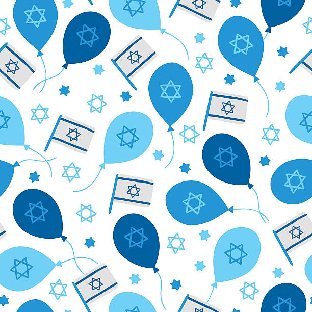 independence day seamless pattern with balloons, israel flags, jewish stars - israel independence day stock illustrations, clip art, cartoons, & icons