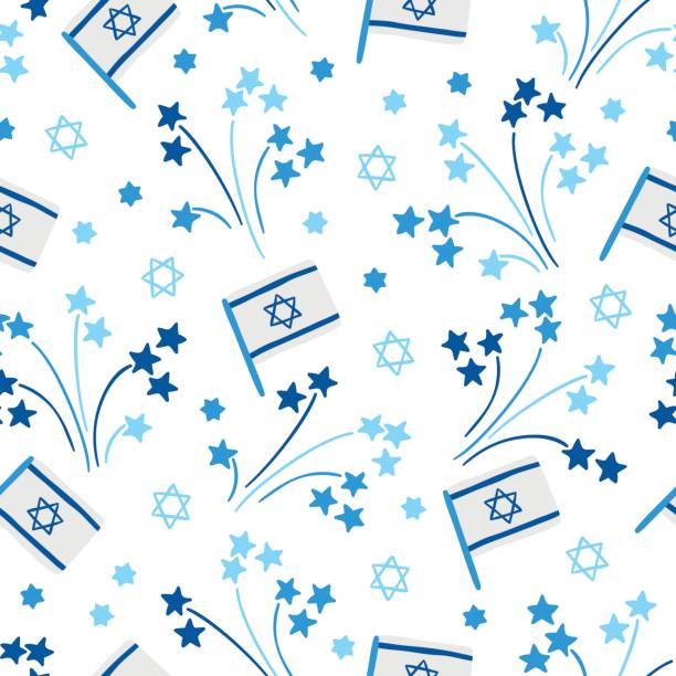 independence day seamless pattern with firework, israel flags, jewish star - israel independence day stock illustrations, clip art, cartoons, & icons