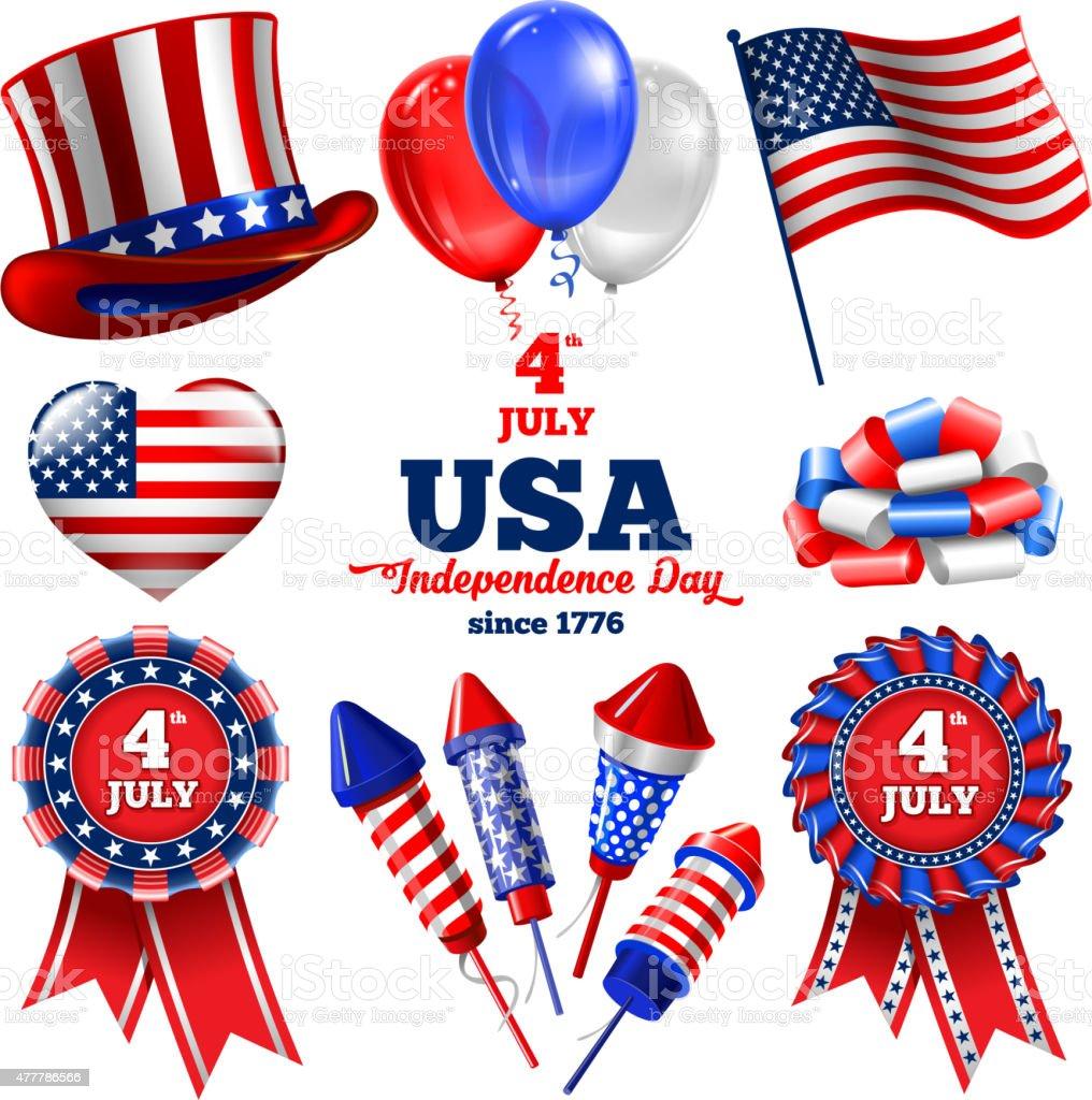 Independence day set vector art illustration